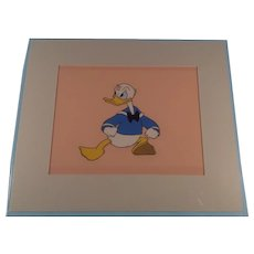 Disney Donald Duck Production Cel- Sold At Disneyland 1960's With Gold Seal