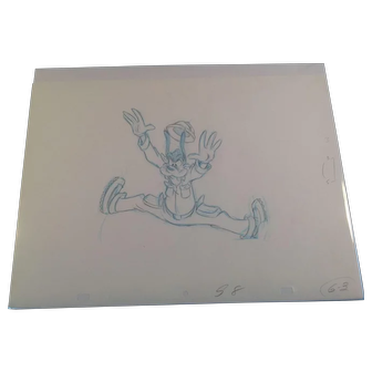 Disney Animation Production Pencil Drawing of Goofy - Large Stretched Out Action Pose