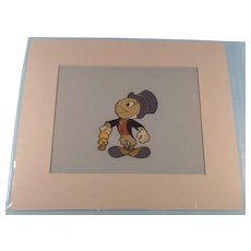 Disney Jiminey Cricket Production Cel- Hand Inked - Sold At Disneyland 1950's With Gold Seal
