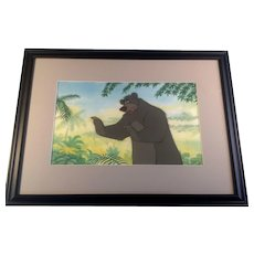Disney Jungle Book Production Cel of Baloo The Bear with Painted Background