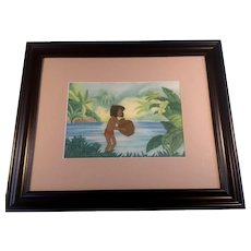 Disney Jungle Book Production Cel of Mowbli The Little Boy with Painted Background