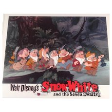 "Disney "" Snow White"" Re-Release Lobby Card #6 Animated Cartoon Feature"