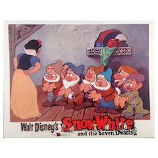"Disney "" Snow White"" Re-Release Lobby Card #7 Animated Cartoon Feature"