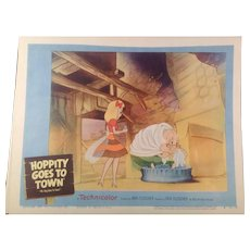 """Vintage Lobby Card #3 Rare Original. """" Hoppity Goes To Town """" 1941 Animated Feature by Max Fleischer"""