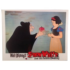 "Disney "" Snow White"" Re-Release Lobby Card #1 Animated Cartoon Feature"