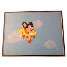 Mighty Mouse Animation Production Cel and Painted Background - Pilot Cartoon From Series