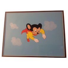 Mighty Mouse Animation Production Cel Flying Downward with Background - Pilot Episode