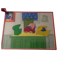 Mr. Magoo's Christmas Carol Animation Production 3 Cel Setup and Drawing - Framed - 1960's