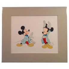 Disney Mickey Mouse Animation Production Color Model Cel- Two Large Images- Matted