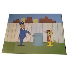 Top Cat Animation Production Cel with Pan Painted Background - Matted - 1960's