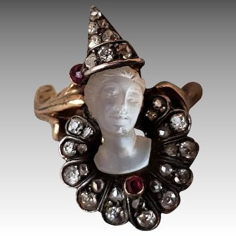 """Silver-topped 14k Gold, Diamond, Ruby, and carved Moonstone ring of a """"Pierrot"""" clown"""