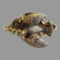 Victorian En Tremblant Silver and 14k gold Mourning bird brooch
