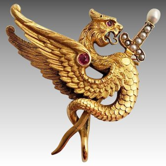 Victorian 18k gold Griffin with ruby and pearl sword pendant and brooch