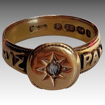 Victorian 18K Gold & Diamond Starburst Mizpah Ring. C 1876 English Size 5.5