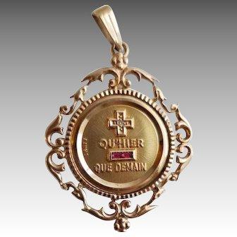 Vintage 14k A. Augis love medallion