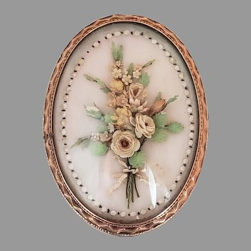 19th century Victorian floral bouquet brooch