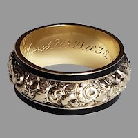 Georgian chased gold floral mourning ring
