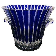 Signed Ajka Castille Cobalt Blue Cut to Clear Crystal Wine/Champagne Bucket