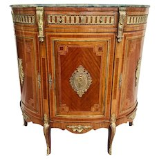 Hollywood Regency Marble Top Cabinet