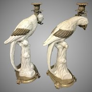 Pair of Porcelain Crackled Parrot candlesticks