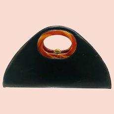 Large Vintage Black Leather & Bakelite Handbag
