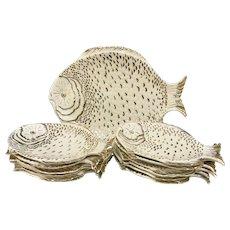 13 Pc Of Fish Plates Serving Set