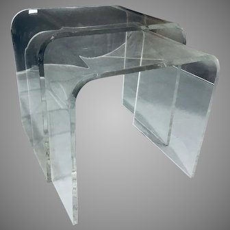 Pair of 2 Vintage Nesting Lucite Tables