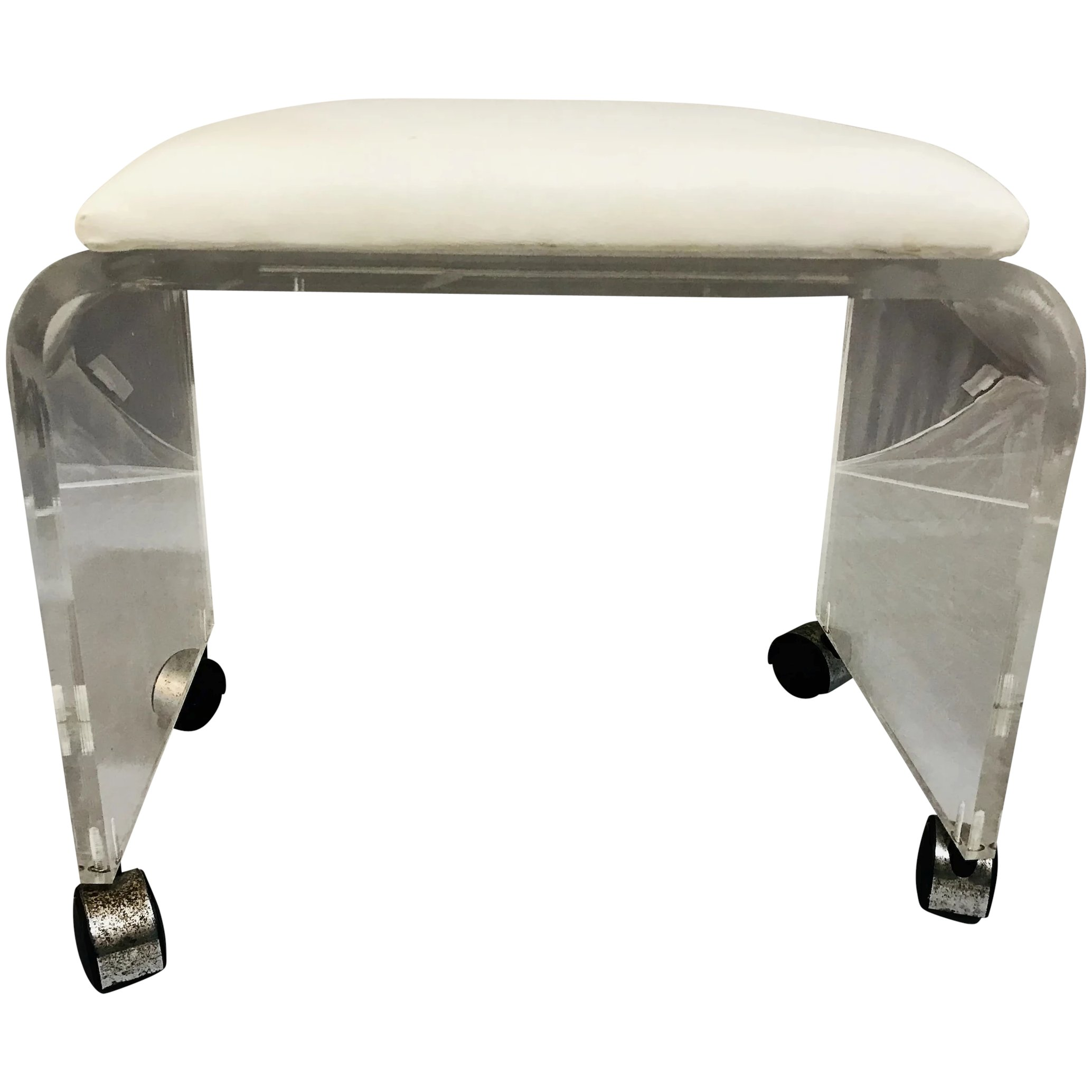 Sensational Vintage Lucite Vanity Stool Bench Caraccident5 Cool Chair Designs And Ideas Caraccident5Info