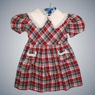 Sweet Vintage 1950s Size 3 Plaid Child's Dress for Patti Playpal