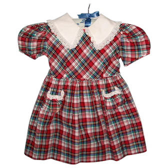 Sweet Vintage 1950s Size 3 Plaid Child's Dress for Patti Playpal