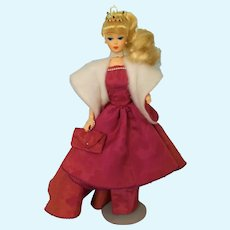 Halina's Doll Fashions of Chicago Mauve Gown, Cape, Clutch Bag and Rare Tiara