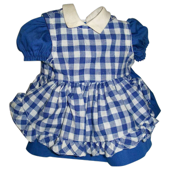 "Sweet 2 Piece Blue and White Pinafore Dress for 16"" Terri Lee"