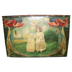 Old Wooden Decorative Box With Deco Style Picture of Children