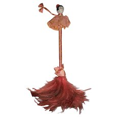 Rare  Art Deco Style German Half Doll Feather Duster