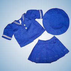 """Sweet 3 Piece Blue Sailor Outfit for 16"""" Terri Lee, Tagged, 1950s"""