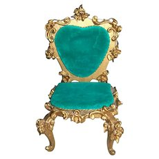 Spielwaren Szalasi Germany Rococo Dollhouse Wood Upholstered Side Chair 1