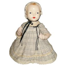 """18"""" Vintage Unmarked Composition Spring Strung Baby Doll"""