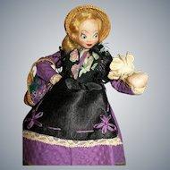 """Vintage 10"""" French Cloth Larrea Biarritz Art Doll Violet Vendor (Violetera)"""
