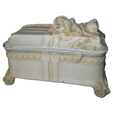 Art Nouveau Floral Ivory Finished Cast Metal Footed Jewelry Casket