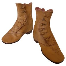 Antique Gold Leather Child's High Button Shoes, Boots