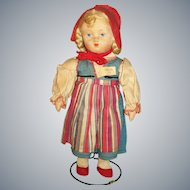 Vintage 1920s-30s Russian Cloth Doll in Folk Costume All Original