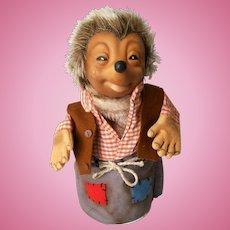 Vintage Steiff Mecki Hedgehog Plush Puppet with Nickel Script Button, Germany