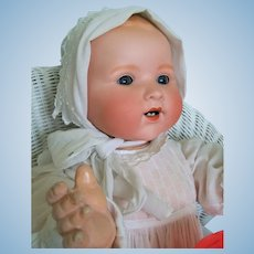 """Life-size 24"""" Armand Marseille 351 Dream Baby in Antique Christening Outfit"""