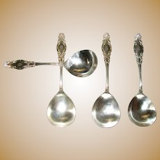 "Antique (Eagle) Wm. Rogers (Star) 6 ""Melrose"" Round Bowl Soup Spoon (Bouillon) Silverplate 1898 Monogrammed ""B"""