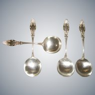 """Antique Wm. Rogers """"Melrose"""" Round Bowl Soup Spoon for Cream Soup or Gumbo 6 1/2"""" Silverplate 1898"""