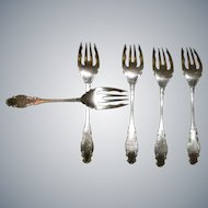 """Antique (Eagle) Wm. Rogers (Star) """"Melrose"""" Solid Fish Fork Silverplate 1898 Monogrammed """"B"""" 6 1/4"""""""