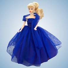 Lovely Halina's Doll Fashions of Chicago Barbie Blue Satin and Chiffon Gown and Matching Velvet Cape