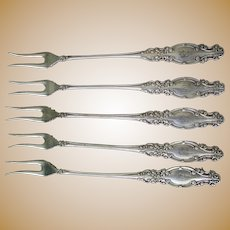 "Set of Five Antique (Eagle) Wm. Rogers (Star) B ""Melrose"" Oyster Fork Silverplate 1898 5 7/8"" Monogrammed ""B"""