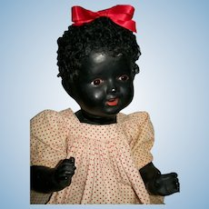 """18"""" Vintage Black All Composition Glass Eye Baby Doll, German?"""