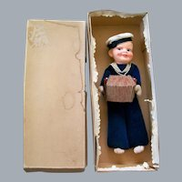 """12"""" Probable Nora Wellings Sailor Doll with Working Accordian Squeaker, Orig. Box"""
